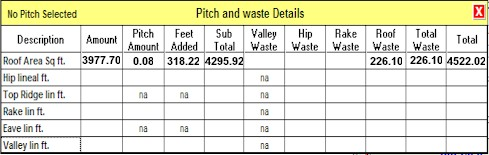 Your roof pitch and waste figures