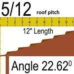 5/12 roof pitch to angle = 22.62 degrees