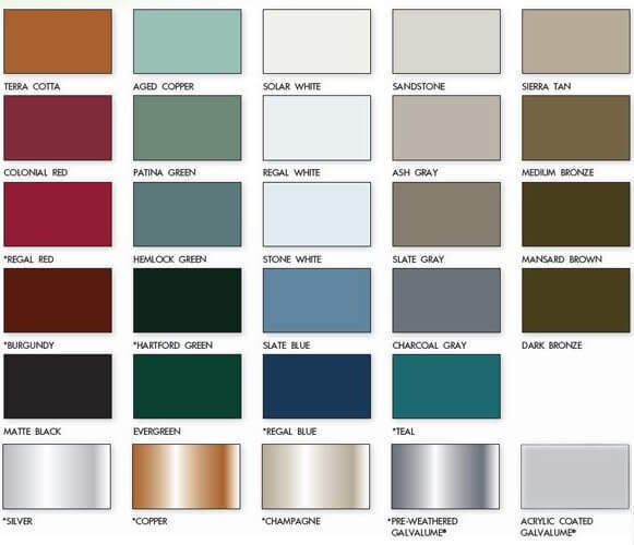 metal roof colors paint charts